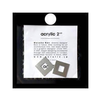 acrylic【スクエア小 アルミ シルバー】 Aluminium Parts ゴムイヤリング