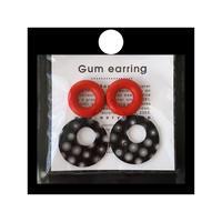acrylic 【GUM レッド + サークル大 ブラック スモールドット】GUM Earring +Parts SET ゴムイヤリング アクリリック 坂雅子イヤーカフ