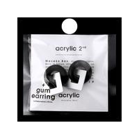 acrylic【GUM ブラック + スクエア小 アルミ シルバー】GUM Earring +Parts SET アクリリック ガムイヤリング パーツ セット イヤーカフ