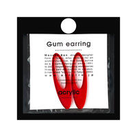acrylic【ロングオーバルレッド】GUM EARRING parts アクリリック 坂雅子