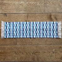 やまもも染 市松織 テーブルランナー 3色 緑×紺×グレー (j-5-1)