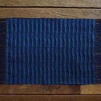 藍染 市松織 テーブルセンター(小) 2色 紺×納戸 (b-3-1)