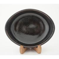 ロクロ楕円深皿(7寸/約24cm×19cm) 黒 (03)