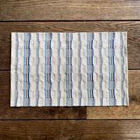 やまもも染 市松織 ランチョンマット ベージュ地 納戸×グレー×水浅葱 (j-4-2)