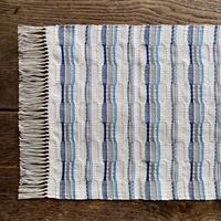 やまもも染 市松織 テーブルランナー ベージュ地 納戸×グレー×水浅葱 (j-5-3)