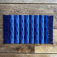 藍染 市松織 花瓶敷き(中) 3色 紺×納戸×水浅葱 (b-1-2)