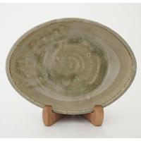ロクロ楕円深皿 7寸(約24cm×19cm) 灰
