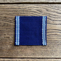 藍染 花風通織 コースター(片面) 白花×水浅葱 (a-6-2)