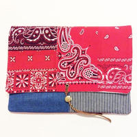 REMADE Clutch Bag 《クラッチバッグLサイズ  バンダナパッチワーク》