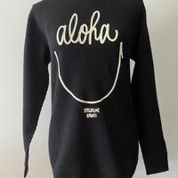 aloha smile ヘビーウェイトワッフルロングスリーブTシャツ ブラック Men's size S
