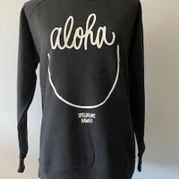 aloha smile クルーネック へザーブラック WOMEN'S