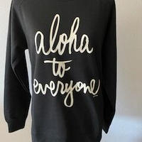 aloha to everyone  クルーネック ヘザーブラック WOMEN'S
