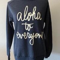 aloha to everyone クルーネック ヘザーネイビー WOMEN'S
