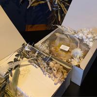 チーズケーキ ドライフラワーBOXダークブレンドコーヒー(粉)セット