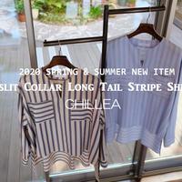CHILLEA  Vスリットカラー&ロングテール  ストライププルオーバーシャツ