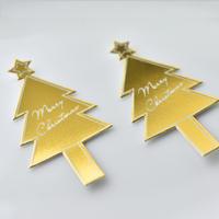 XH011【クリスマスピック・箔押しシリーズ】Merry Christmas Tree<ゴールド>100枚入り