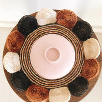 Vietnamise Vessel(rice bowl) & Raffia plate [PINK]