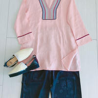 Linen Tunic with handmade garment[Coral Pink] Malaysia