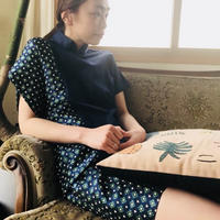 JAQUARD QIPAO DRESS (NAVY.ver)
