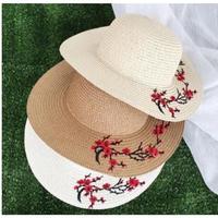 花柄刺繍つば広帽