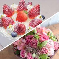 アニバーサリーセット(デコレーションケーキ5号+花束¥11,000相当)※花束画像はイメージ、ホテルからのプチギフト付き