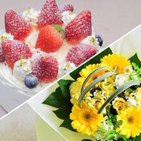 アニバーサリーセット(デコレーションケーキ5号+花束¥3,300相当)※花束画像はイメージ、ホテルからのプチギフト付き