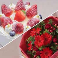 アニバーサリーセット(デコレーションケーキ4号+花束¥5,500相当)※花束画像はイメージ、ホテルからのプチギフト付き