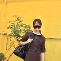 km  dark brown dress w belt