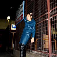 blue full leather coat