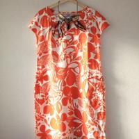 orange pattern dress