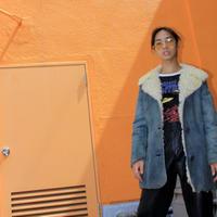 blue lamp skin leather coat
