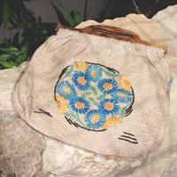 knitting bag blue flower