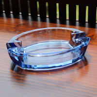 blue glass ash tray