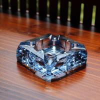 blue glass ash tray small