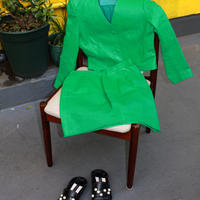 green full  leather skirt suits set