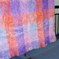 mohair shawl pink purple mix color 70s