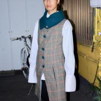 tweed long wool tailor made cowl neck waist coat