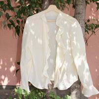 laura ashely cream frill blouse