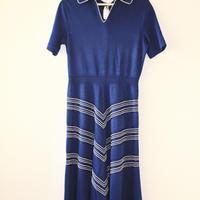 50/60s tiki knit blue dress w collar+belt
