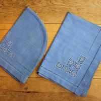 blue tea time mat and pot cover set