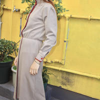 red and cream brown taupe dress w belt