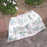 knitting bag white flower