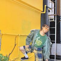 scottish tartan yellow trousers