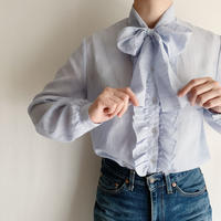 70's Euro Vintage Pale Blue Blouse With Ribbon