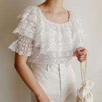 U.K . White Lace Frill Design Blouse