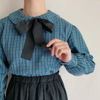 Euro Vintage Plaid Back Buttons Blouse With Ribbon Tie
