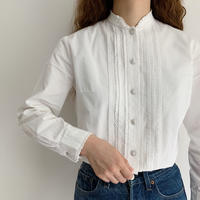 60's - 70's Euro Vintage Stand Collar Cotton Blouse