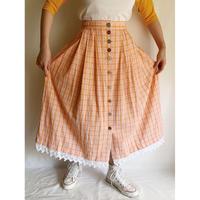 80's Euro  Vintage Front Buttons Folk Flare Skirt