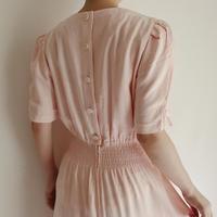 80's Rayon Back Buttons Long Dress