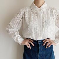 70's Euro Vintage Cotton Cutwork Lace Blouse